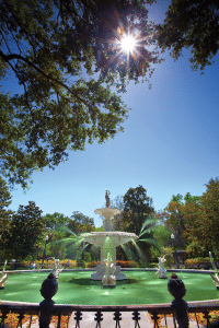 St Pats Forsyth Fountain - Visit Savannah
